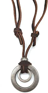 jonline24h Mens Womens Double Ring Pendant Adjustable Leather Cord Necklace Chain, Brown Silver