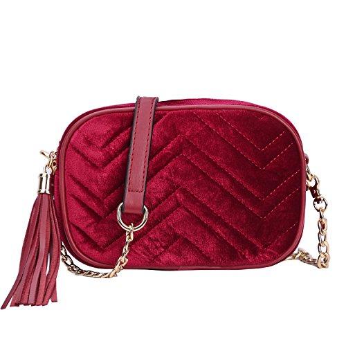 ed3584a17 SUSEN Womens Velvet Mini Crossbody Bag Luxury Tassel Handbags Purses Chain  Party Bag For Girls - Buy Online in UAE.