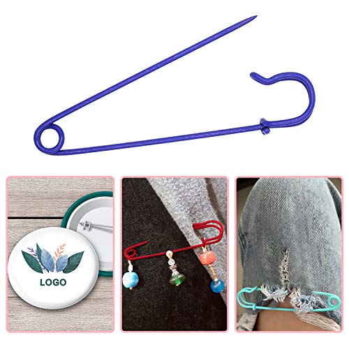 S-Mechanic Steel Safety Pins 4 Inches Heavy Duty Steel Pins for Blankets, Skirts, Kilts, DIY Crafts (7 Colors, 14 Pieces)