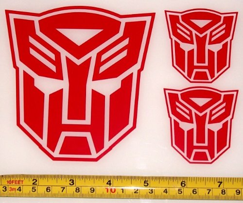 Transformers - Autobot Set of 3 HQ Single Color Red Vinyl Sticker Decals -