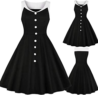 Women Vintage Print Long Sleeve Casual Evening Party Prom Swing Dress Pandaie-Womens Dresses