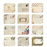 yueton Pack of 48 Kawaii Retro Lovely Vintage Special European Style Mini Paper Envelope for Wedding, Birthday Party, Greeting Cards (12 Different Designs)