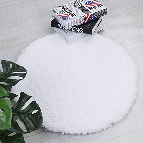 Shag Bathroom Rug, Seavish Non Slip Microfiber Soft Absorbent Shower Mats Washable Bath Rug Runner Floor Door Carpet 2ft Round inches, Luxury White