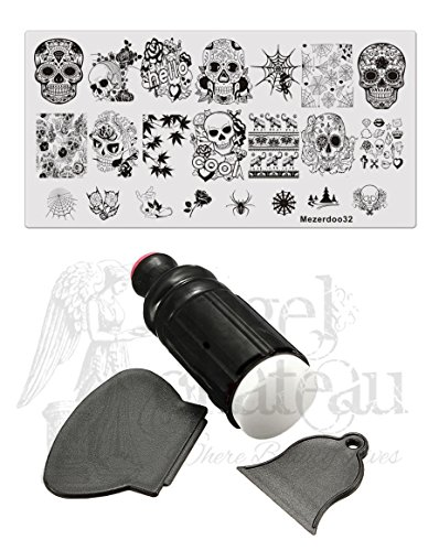 Nail Stamping Plate + XL Stamper + 2 Scrapers Halloween Design Skull Flower Web Spider