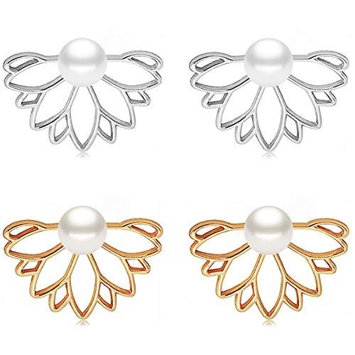 Suyi Fashion Hollow Lotus Flower Earrings Pearl Simple Chic Stud Earrings Set DGS