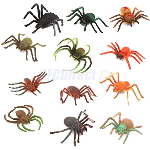 Shalleen Lot 12 Plastic Vivid Spider Insect Model - Manipulative Wall Panels