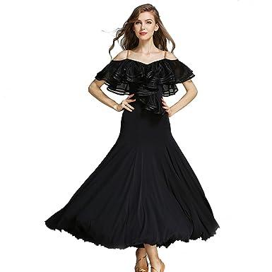 f06c2c63f Women French Classic Luxury Big Lotus Leaf Swing Ice Silk Latin Dance  Costume Flamenco Ballroom Waltz