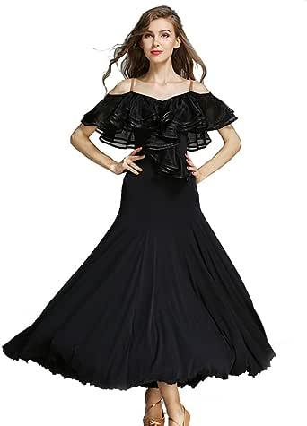 YILINFEIER Women French Classic Luxury Big Lotus Leaf Swing Ice Silk Latin Dance Costume Flamenco Ballroom Waltz Salsa Dance Dresses