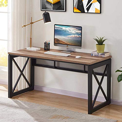 BON AUGURE Industrial Office Computer Desk, Wood and Metal Writing Gaming Desk, Workstation Desk for Home Office (60 Inch, Rustic Oak) (Industrial Computer Desk)