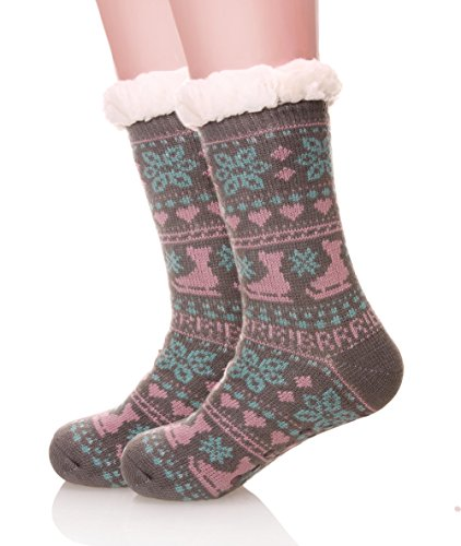 EBMORE Womens Winter Snowflake Fleece
