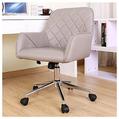 Zenith Modern Pu Leather Mid Back Office Chair Executive Chair with Adjustable Height Home Office Chair Desk Chair Task Chair Computer Chair Swivel Chair (Grey)