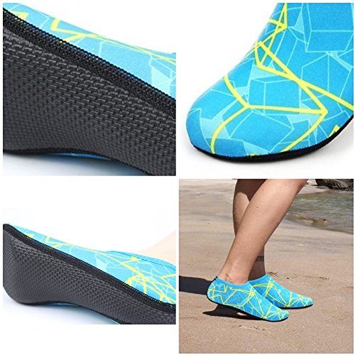 WOWFOOT NBERA Wasser Barfuß Haut Schuhe Aqua Socken Flexible Strand Schwimmen Surf Sand Pool Yoga Aerobic Übung Gelb Blau