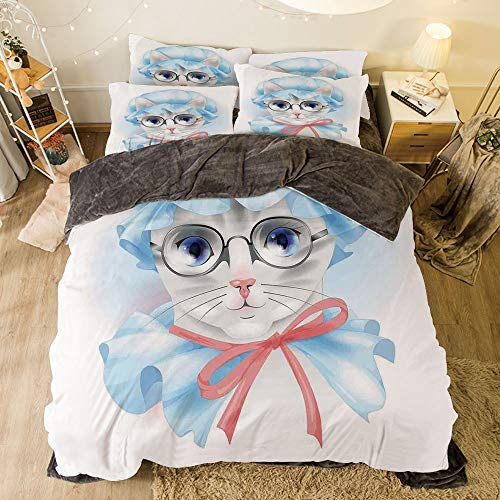 All Season Flannel Bedding Duvet Covers Sets for Girl Boy Kids 4-Piece Full for bed width 6.6ft Pattern by,Cat,Granny Grandma Old Kitty with Her Old Fashioned Pyjamas and Reading Glasses Artsy,Blue -
