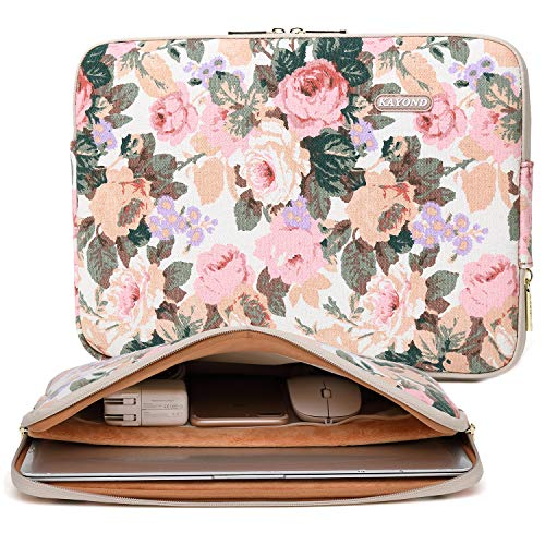 Kayond Canvas Water-Resistant 13.3 Inch Laptop Sleeve case for 12.5 inch 13inch Notebook Computer 12.9 Pocket Tablet (13-13.3 inch, White Camellia) (Laptop Sleeve 13 Harry Potter)