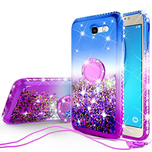 [Coverlab] Glitter Phone Case Kickstand Compatible for Samsung Galaxy J7 (2017)/J7 Sky Pro/J7 Perx/J7 V/J7 Prime/Halo Case,Ring Stand Liquid Floating Quicksand Bling Protective Girls Women - Purple