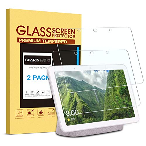 [2 Pack] Google Home Hub Screen Protector, SPARIN Tempered Glass Screen Protector with High Definition, Scratch Resistant, Easy Installation for Google Home Hub