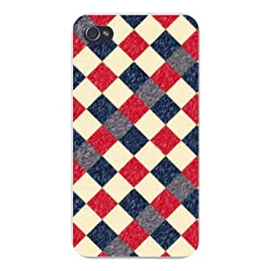 Apple Iphone Custom Case 5 / 5s White Plastic Snap on - Checkered Argyle Design Brush Texture Design