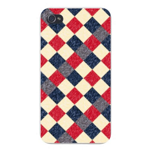 Apple Iphone Custom Case 5 / 5s AND SE White Plastic Snap on - Checkered Argyle Design Brush Texture Design