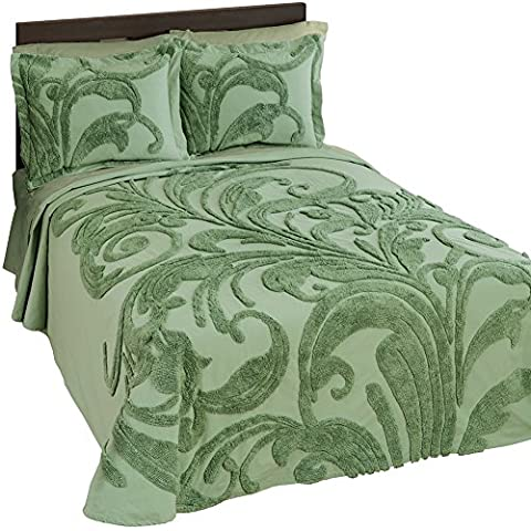 Bethany Scroll Chenille Bedspread Sage Queen, Sage, Queen - Sage Green Chenille