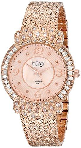 Burgi Women's BUR120RG Rose Gold-Tone Watch with Textured Bracelet