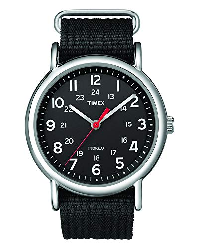Timex Unisex T2N647 Weekender Black Nylon Slip-Thru Strap Watch - Hour Dial Green Nylon Strap
