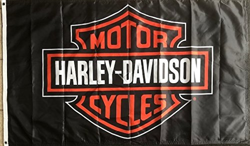 Harley Davidson Black 3x5 Flag 2 Sided Harley Motor Cycles Logo