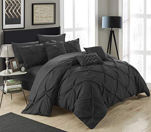 Chic Home 10 Piece Hannah Pinch Pleated, ruffled and pleated complete Queen Bed In a Bag Comforter Set Black With sheet ()
