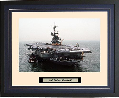 - Navy Emporium - USS Coral Sea CV-43 - Framed - Photo - Engraved Ship Name - Double Mat - Photograph - 16 X 20 - 65CV43Blue