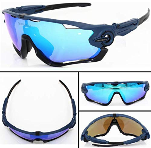 FidgetGear New 4 Pair Lens Polarized UV400 Cycling Bicycle Sunglasses Jawbreaker Goggles Dark Blue Frame, Blue Lens -