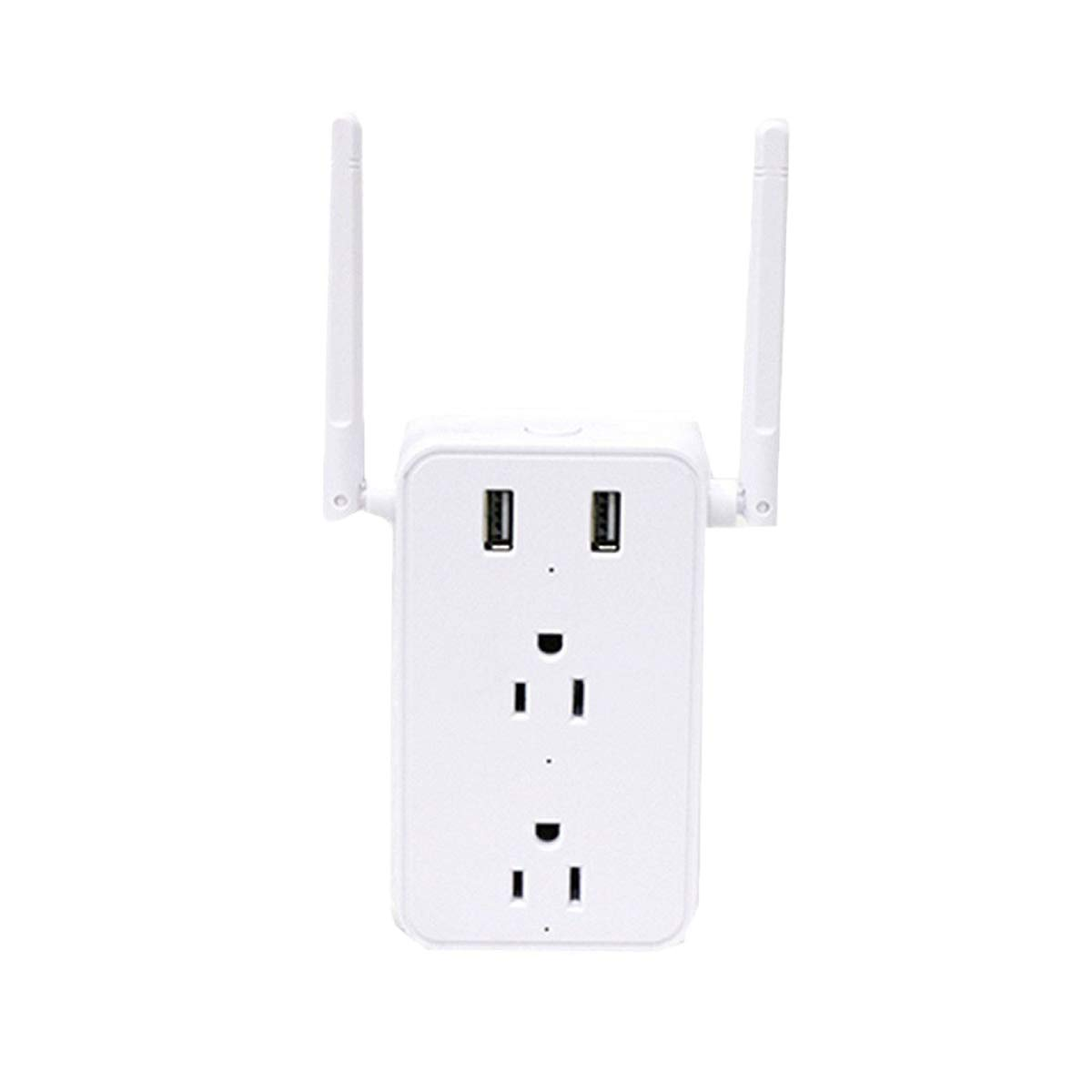 300Mbps WiFi Range Extender 2 in 1 Smart Plug,2 Plugs and 2 USB Ports WiFi Switch, Compatible with Alexa, Google Home,Remote Control Only Supports 2.4Ghz Network