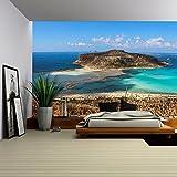 wall26 - Exotic beaches - Gramvousa island Balos lagoon, Crete, Greece - Removable Wall Mural | Self-adhesive Large Wallpaper - 100x144 inches
