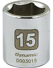 Dynamic Tools 1/4-Inch Drive 6 Point Metric, 15-Millimeter Standard Length, Chrome Finish Socket