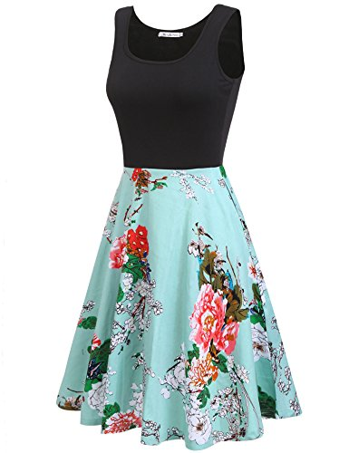 Macr&Steve Women's Summer Sleeveless Floral Vintage Swing Cocktail Party Dress,Light Green,Medium