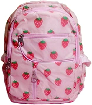 Kawaii Red Strawberry Canvas MIlk Box Student School Bag Backpack Sweet Girls To