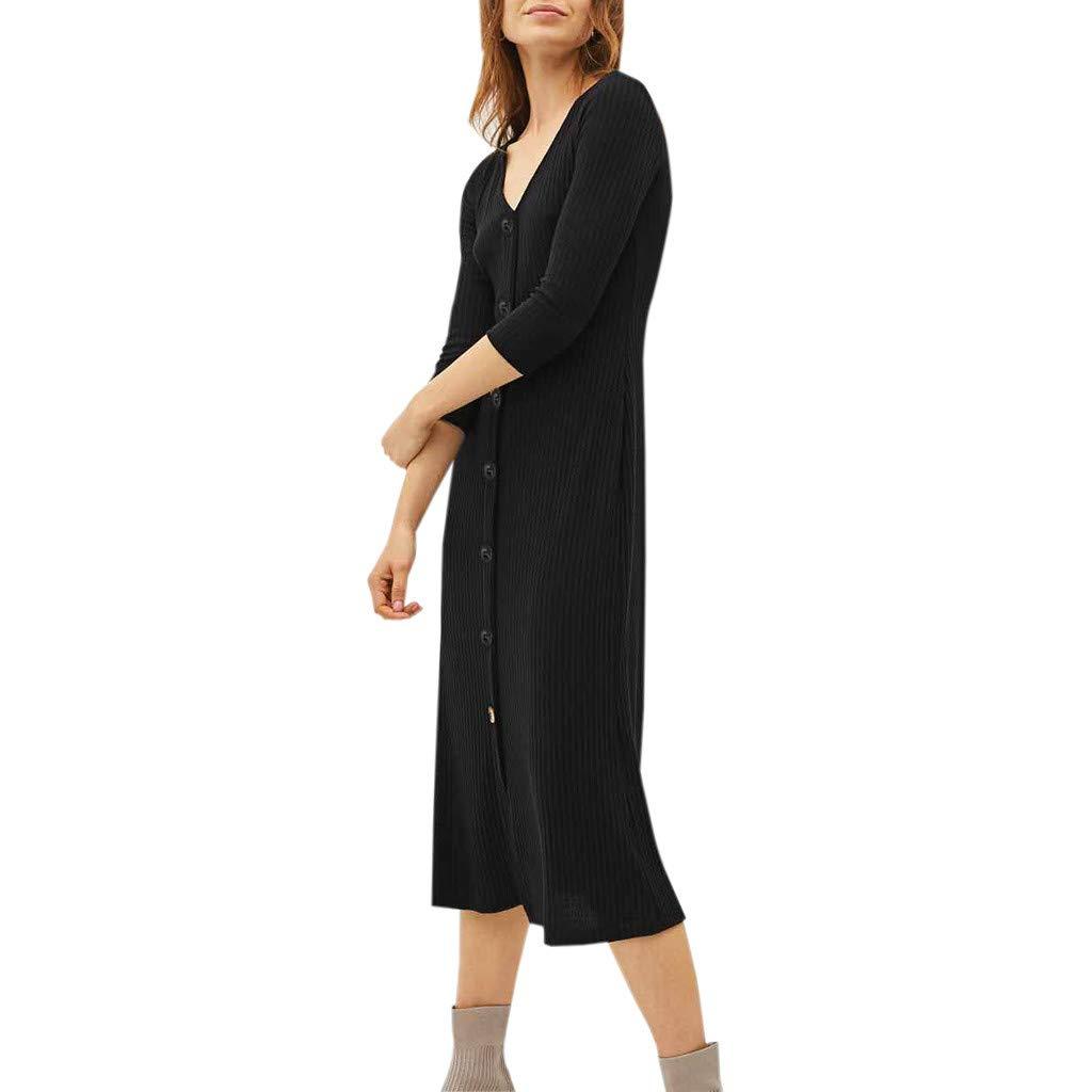 Women's Casual Dress 3/4 Slevee V Neck Button Knit Skirt Dress (XL, Black)