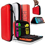 Orzly Carry Case for Nintendo Switch, RED & WHITE Hard Shell Protective Carrying Case Portable Travel Pouch Compatible With Nintendo Switch Games Console & Accessories