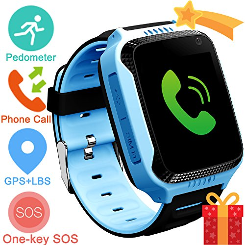 Kids Smart Watch Phone with GPS Tracker Locator Camera Math Game Pedometer Digital Analog Alarm Torch Remote Monitor Anti Lost for Girls Boys Compatible with Android iPhone (01 G3S Blue GPS+Pedometer)