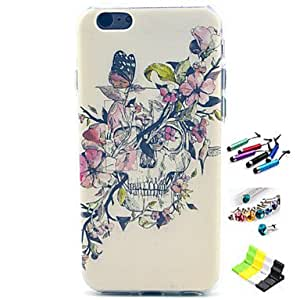 WQQ Skull Pattern with Stylus ,Anti-Dust Plug and Stand TPU Soft Case for iPhone 6