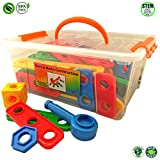 Nuts and Bolts Building Toy for Toddlers to Pre-kindergarten with Tool Box Storage Container, Idea Guide & Ratchet by Skoolzy - Boys and Girls Construction 87 Piece Set