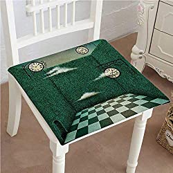 Mikihome Squared Seat Cushion Green Fairy Tale Walls of Grass and Clocks Wonderland Theme Print Garden Patio Home Kitchen Office Sofa Seat Pad 20x20x2pcs
