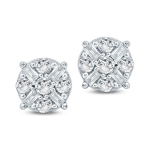 Tesero Mio 10K White Gold 1/2 Carat Round and Step Cut (I-J Color, I2-I3 Clarity) Natural Diamond Earrings for Women