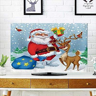 prunus Proteger su TV Copos de Nieve Fondo Azul Proteger su TV W19 x H30 Pulgadas/TV 32 Pulgadas: Amazon.es: Hogar
