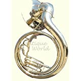 Antiques World Natural Unlacquered Solid Brass Jumbo 24-inch Bell Sousaphone AWUSAMI 084
