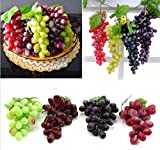 URTop 4 Bunchs of Artificial Black ,Red, Green and Purple Large 85pcs Grapes Plastic Fake Decorative Fruit Food Lifelike Home Wedding Party Garden Decor Mini Simulation Fruit Photography Props