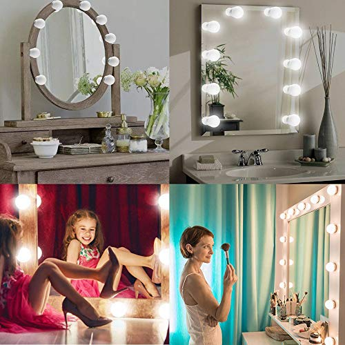 Euone  Lights Chain, Vanity LED Mirror Light Kit Makeup Hollywood Mirror Dimmable Light Bulb -