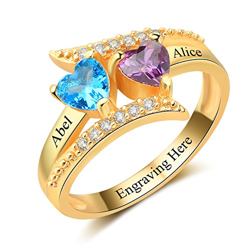 Diamondido Personalized Family Mother Rings with 2 Simulated Birthstone Custom Names Handmade Promise Ring for Her (Gold, 6)