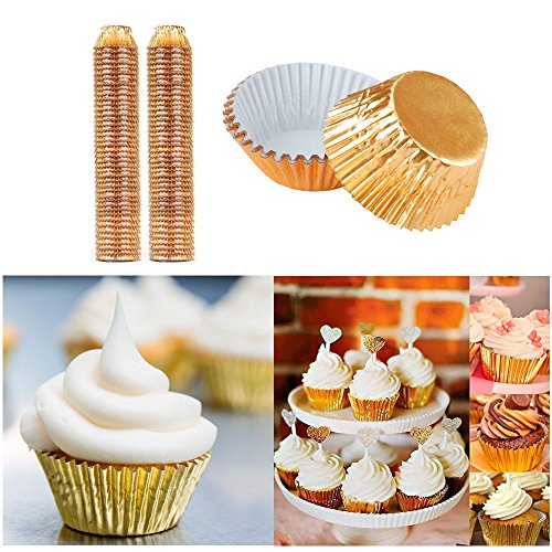 (1000 Mini Foil Gold Baking Cups Cupcake Muffin Liners Bake Pastry Party Samplers)
