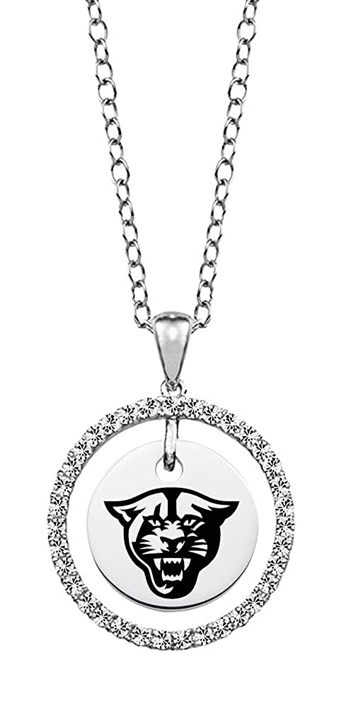 Georgia State Panthers White Cz Circle Necklace