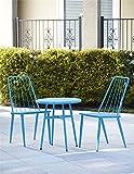 Cosco Outdoor 3 Piece Cottage Bistro Steel Patio Furniture Set, Teal