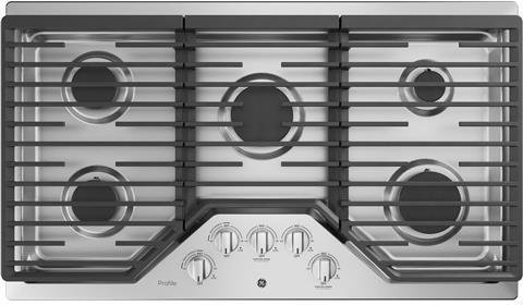 GE Profile PGP7036SLSS 36 Inch Natural Gas Sealed Burner Style Cooktop with 5 Burners, ADA Compliant, Electronic Ignition in Stainless Steel Ge Profile Stainless Steel Appliances